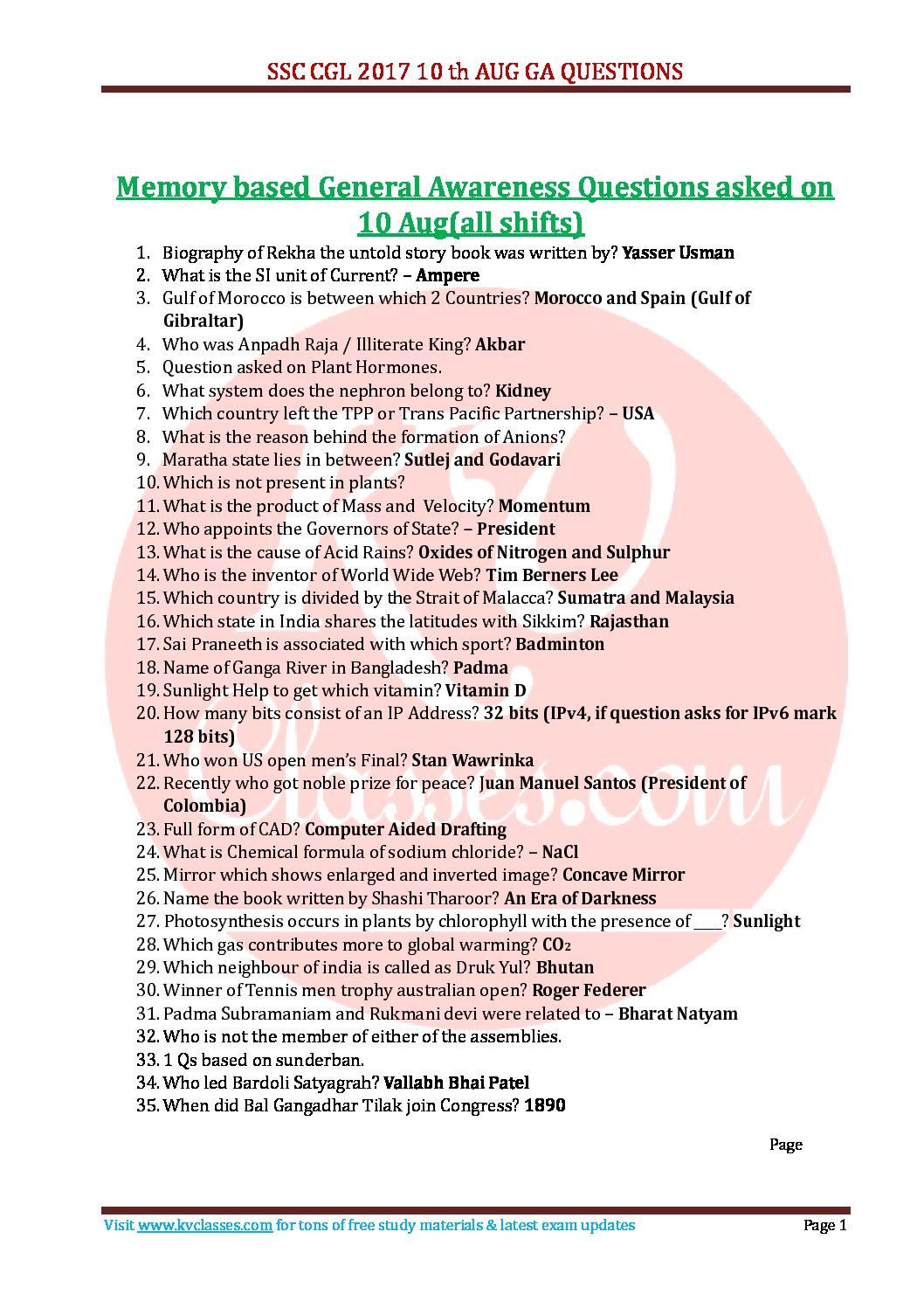 SSC CGL 2017 10 Aug all Shifts memory based GA pdf download