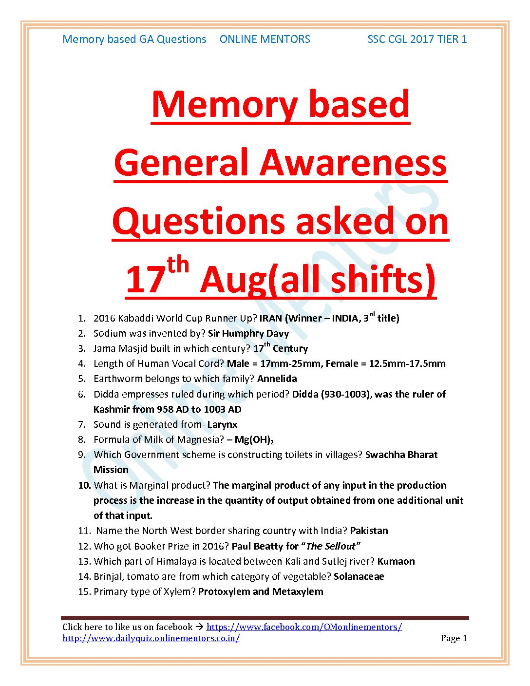 17 Aug SSC CGL 2017 Memory based GK questions