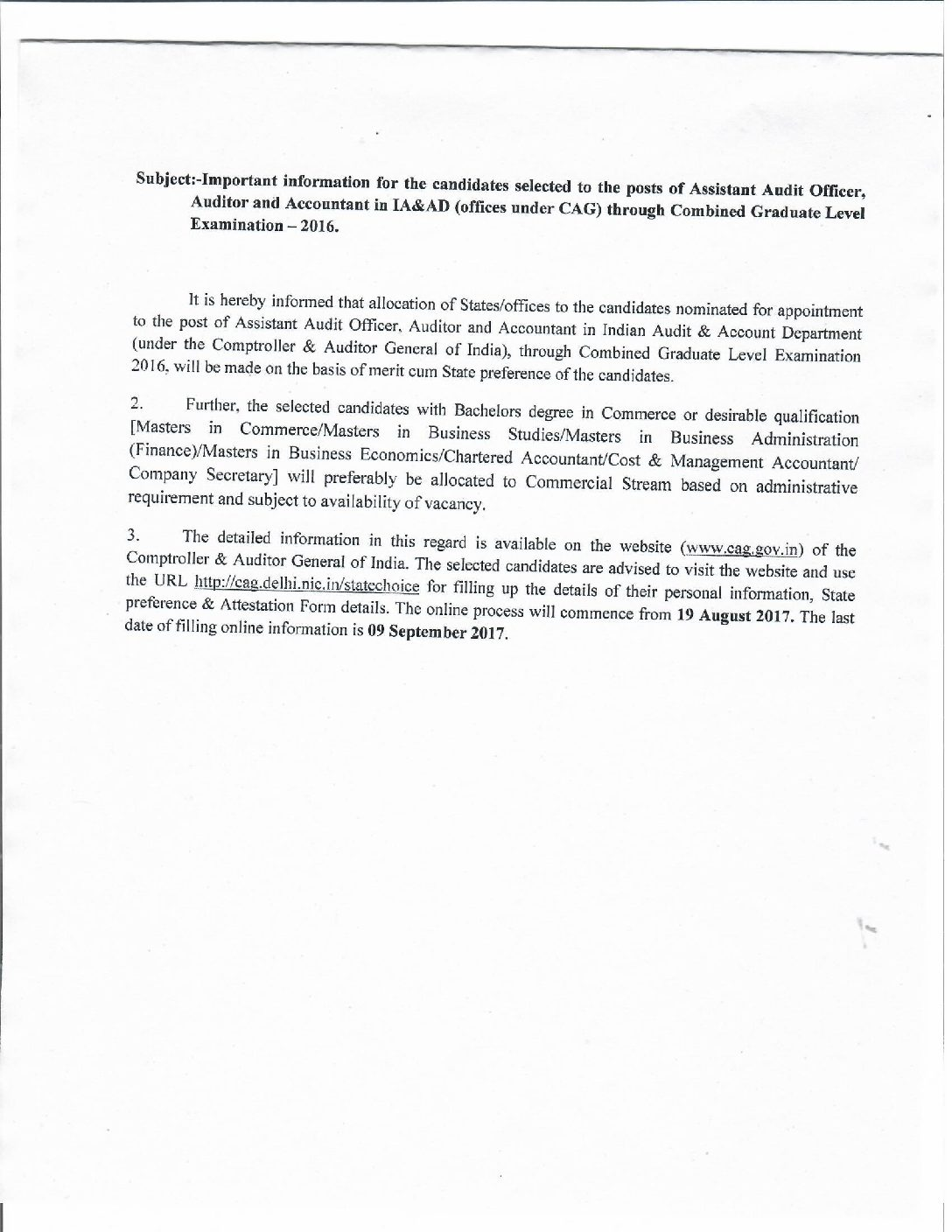 Important Notice For Combined Graduate Level Examination-2016