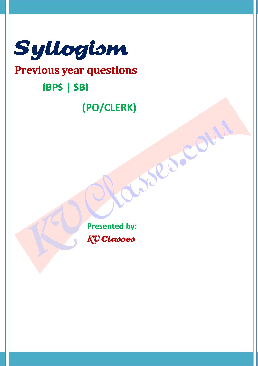 Syllogism  Question Bank Pdf download