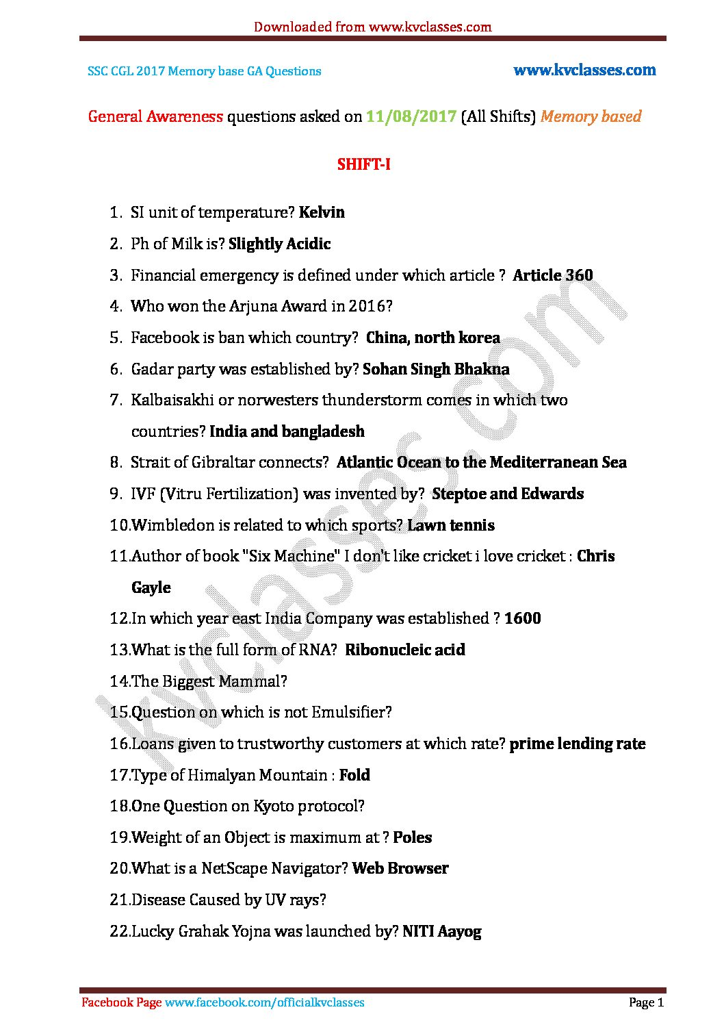 General Awareness questions asked on 11/08/2017 (All Shifts) Memory based pdf download