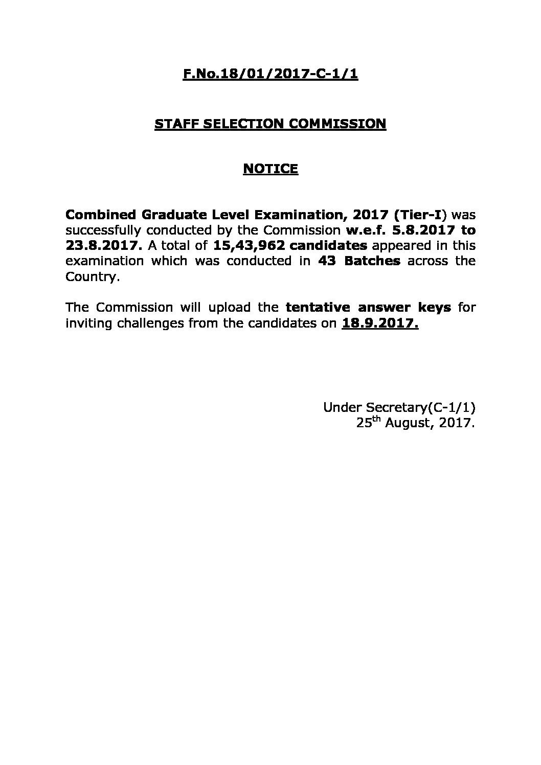 SSC CGL 2017 ANSWER KEY WILL BE PUBLISHED ON 18 SEP 2017