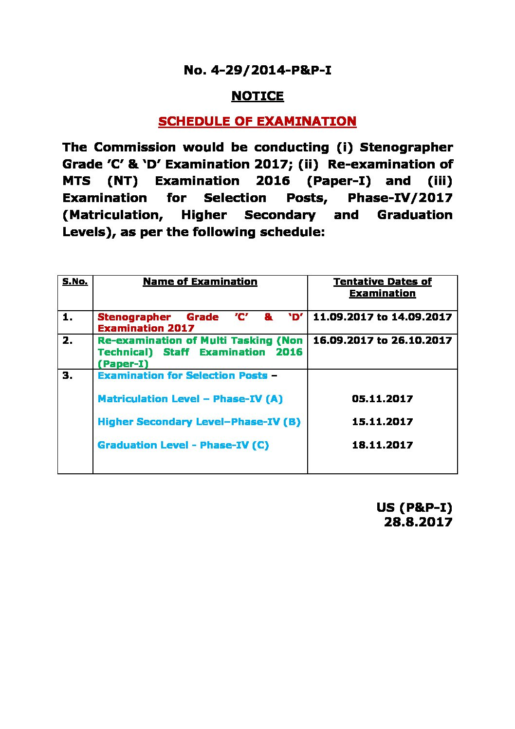 SSC New Exam Schedule for stenographer 2017 & MTS 2016