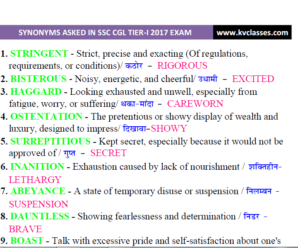 SYNONYMS  Asked in  SSC CGL TIER-I 2017 Exam PDF Download