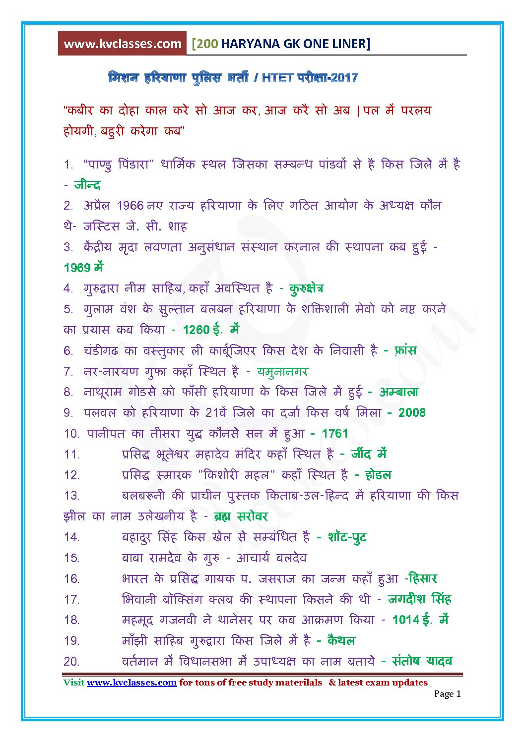Haryana Special Most Important Gk-HTET/Haryana Police PDF Download