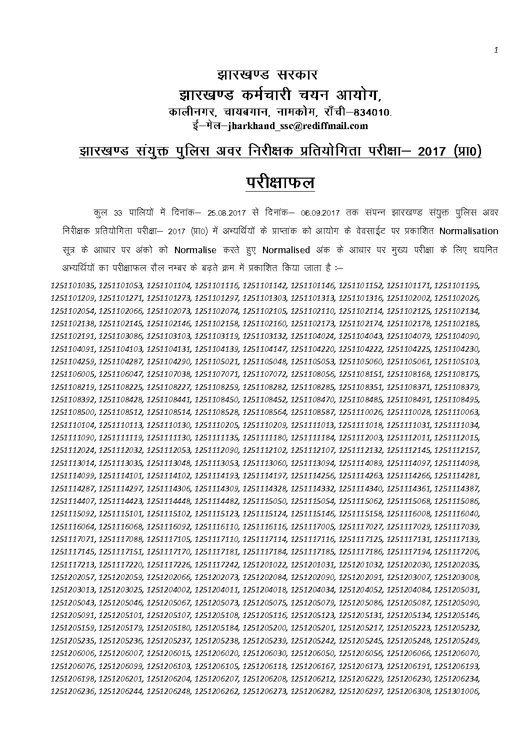 Jharkhand SI ( Daroga) 2017 Online Exam Result Out PDF Download