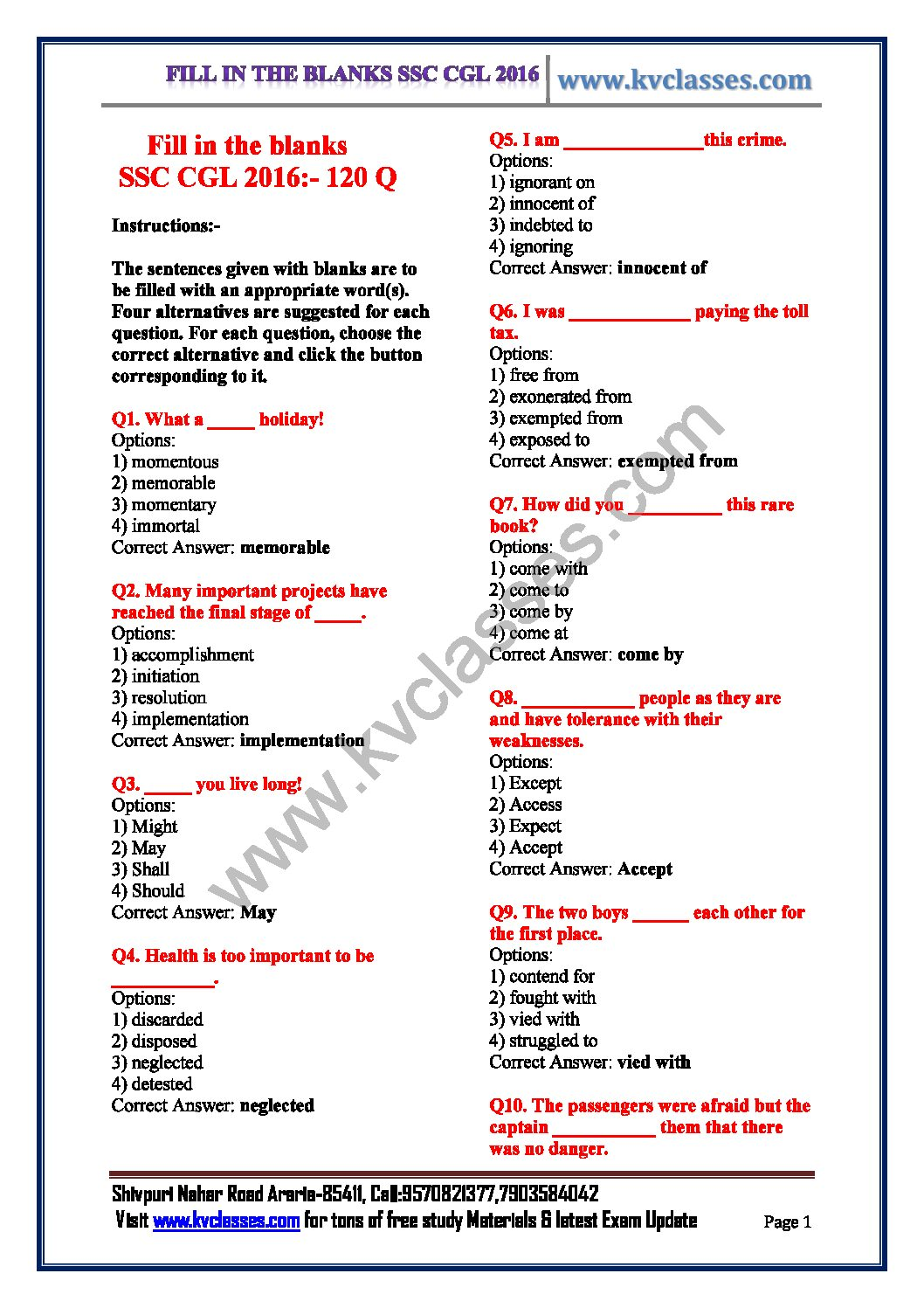 Ssc English Grammar Pdf