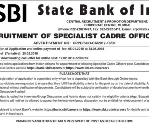 SBI SO 2018 Notification Out