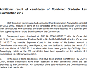 CGL 2012 DECLARATION OF RESULT OF CLEARED CASES WHOSE RESULT WAS KEPT WITH HELD