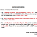IMPORTANT NOTICE FOR CGL(Tier-II) 2017, MTS (NT)(Paper-II) 2016 AND JE (Paper-I) 2017 EXAMINATION Junior Engineers (Civil, Mechanical, Electrical,