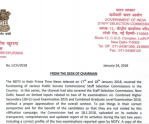 SSC Chairman Reply to NDTV Prime Time Telecast dated 24.01.2018