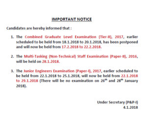 SSC Official Notice for CGL Tier-2 Postponed to 17th February
