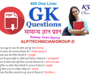 400 One liner General Knowledge For Railway Exam 2018 Download PDF