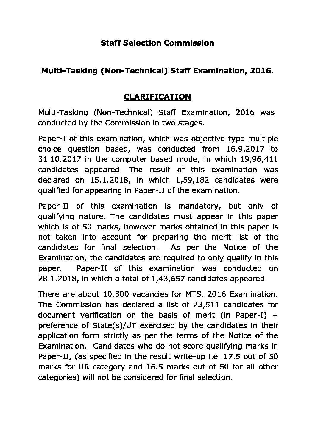 CLARIFICATION FOR ADVANCED ACTION TAKEN BY COMMISSION FOR DV FOR SSC MTS-2016