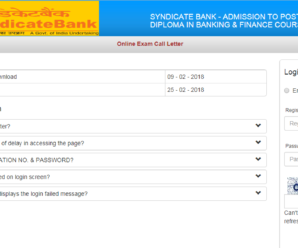Syndicate Bank PO Admit Card 2018 Out: Download Now