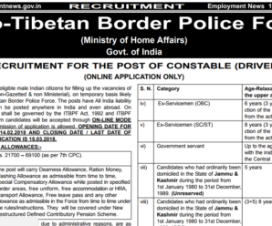 ITBP Recruitment of Constable 2018 Notification