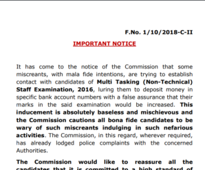 SSC MTS Fake Call Important Official Notice