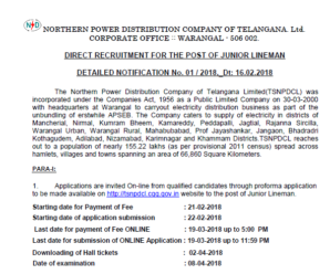 NPDCL Recruitment 2018 for Telangana : Notification out