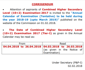 SSC  CHSL 2017 Tier-I will be held on from 4th March 2018 ( Notice Dated  02.02.2018)
