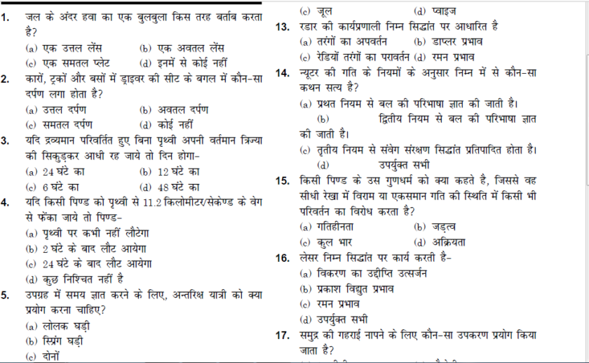 300 Science Questions in MCQs in Hindi PDF Download – KV Classes