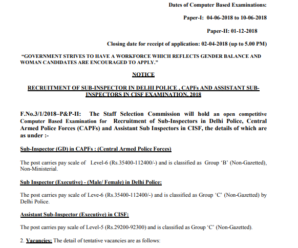 SSC CPO 2018 Official Notification in PDF Download
