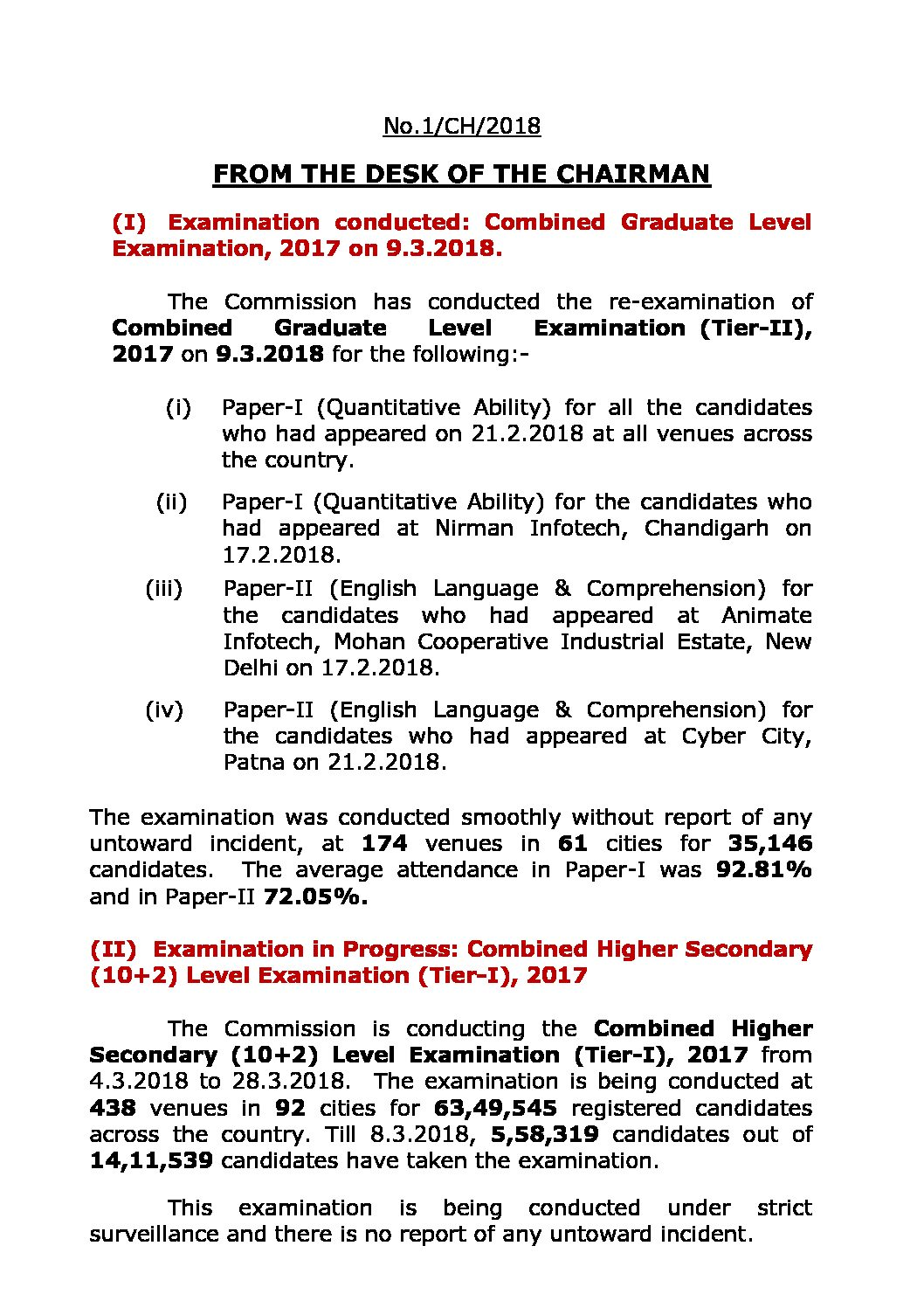 SSC Chairman Notice as on  10.03.2018: Regarding CHSL, CGLE-2017