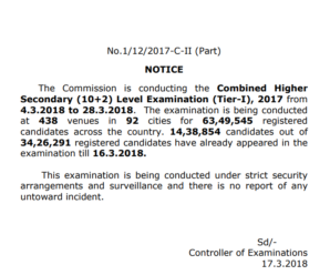 SSC CHSL 2017: Important Notice as on 17.03.2018