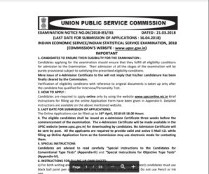 UPSC IES-ISS Exam 2018 Notification Out