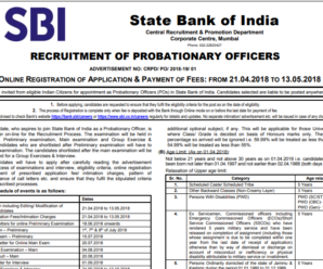 SBI PO 2018 Recruitment Notification