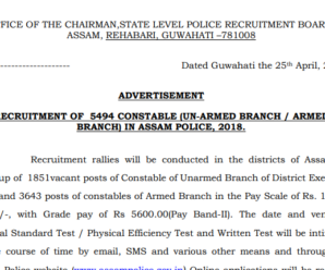 Assam Police Constables Recruitment 2018: Apply Now