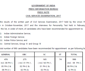 UPSC CSE Final Result 2017 Out: Check Now