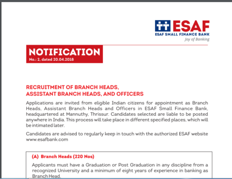 ESAF Bank Recruitment 2018 for 3000 Posts