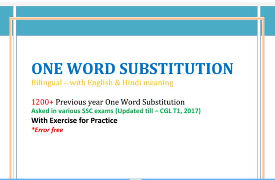 SSC PREVIOUS YEAR ONE WORD SUBSTITUTION ( till 2017)