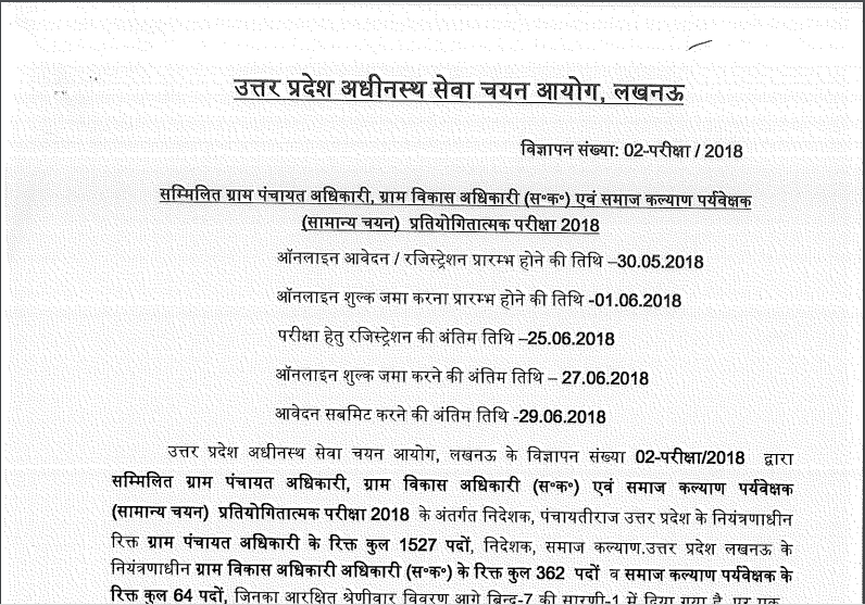 Uttar Pradesh Subordinate SSC 2018 Notification PDF download