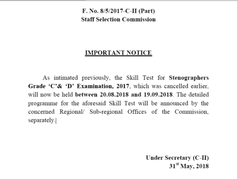 Stenographers Grade 'C' and 'D' Examination, 2017
