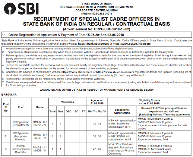 SBI SO 2018 Recruitment Notification PDF Download
