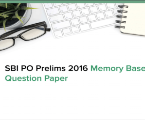 SBI PO Prelims Question Paper 2016 PDF Download