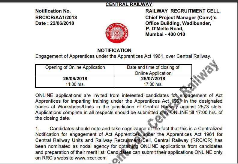 Central Railway Recruitment 2018: 2573 Apprentices Posts, Apply before 25th July 2018