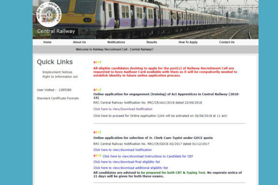 Screenshot of the official website of Central Railway.