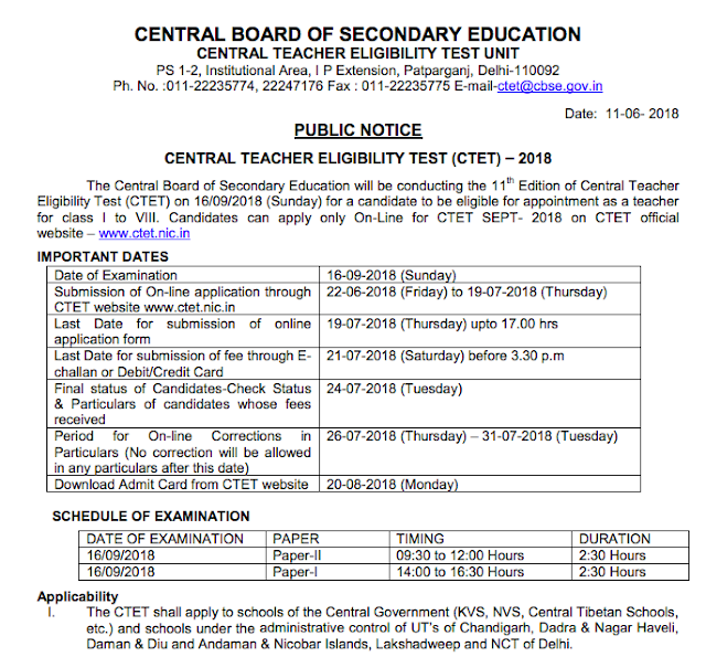 CTET 2018 Official Notification PDF Download