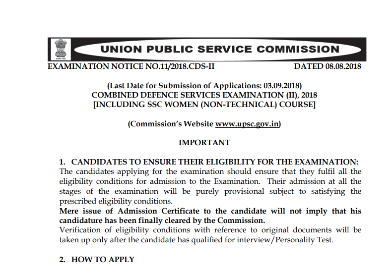 UPSC CDS II Online Form 2018 Apply Here