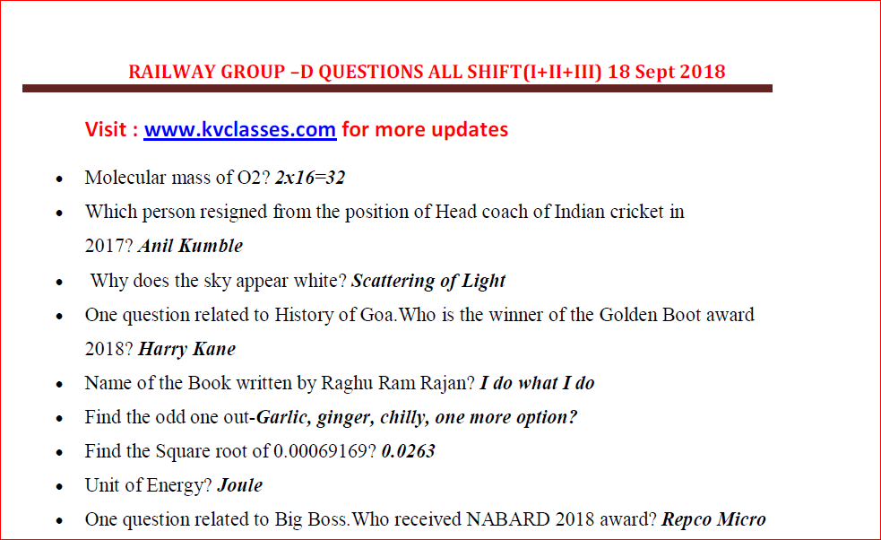 Railway Group-D Questions ( All I+II+III Shift) 18 Sep 2018 PDF Download