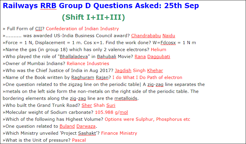 Railways RRB Group D Questions Asked: 25th Sep (Shift I+II+III) PDF Download