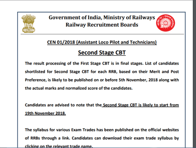 RRB ALP/Technician Stage-II Exam Date Out : Check Here