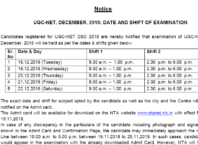 UGC NET December 2018 Examination Date Out