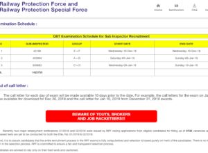 RRB RPF Sub Inspector CBT Exam Schedule 2018 (Official)