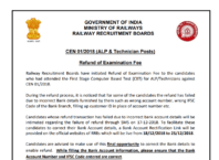 RRB CEN 01/2018 ALP TECHNICIAN Refund Of Examination Fee