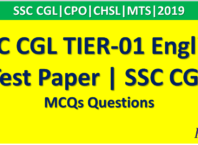 SSC CGL TIER-01 English Test Paper | SSC CGL 2019