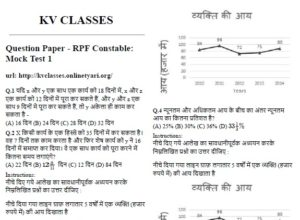 Question Paper RPF Constable Mock Test 1