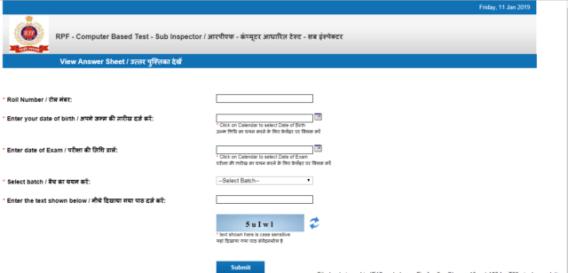 RPF SI Answer Sheet Group E out : Check Now